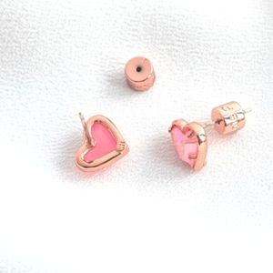 Alicia Bonnie Pink Drusy Heart Rose Gold Earrings